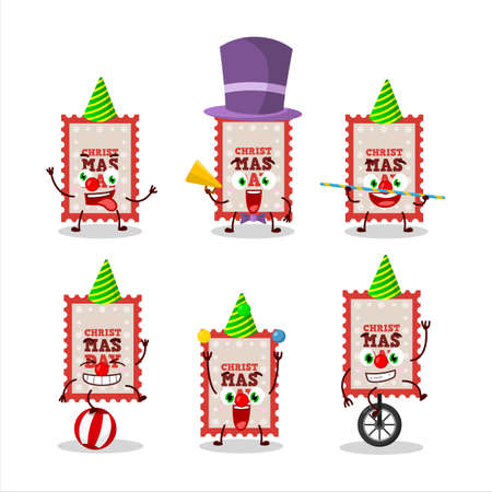 Cartoon character of christmas ticket with various circus shows Ilustracja
