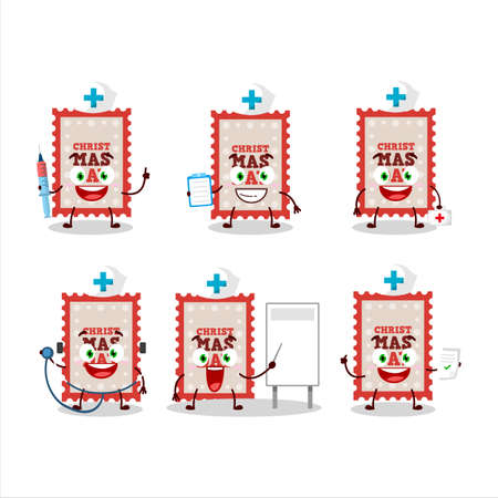 Doctor profession emoticon with christmas ticket cartoon character