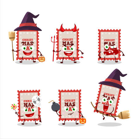 Halloween expression emoticons with cartoon character of christmas ticket