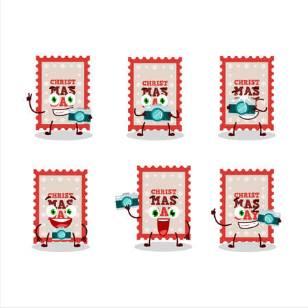 Photographer profession emoticon with christmas ticket cartoon character