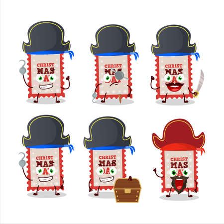 Cartoon character of christmas ticket with various pirates emoticons