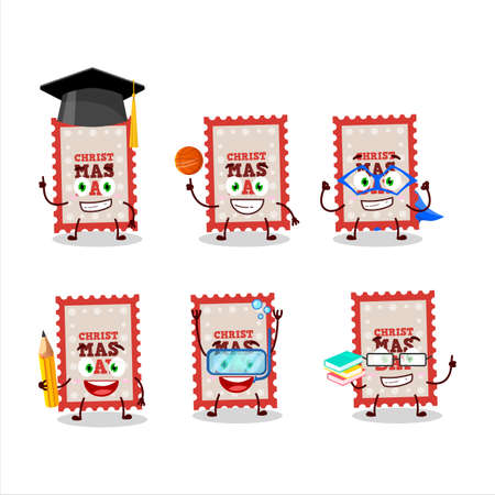 School student of christmas ticket cartoon character with various expressions