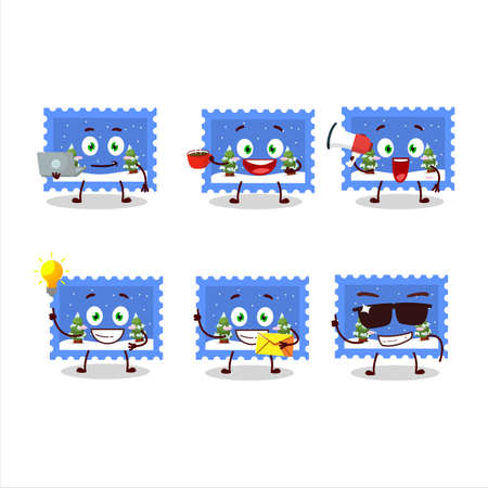 Landscape christmas ticket cartoon character with various types of business emoticons