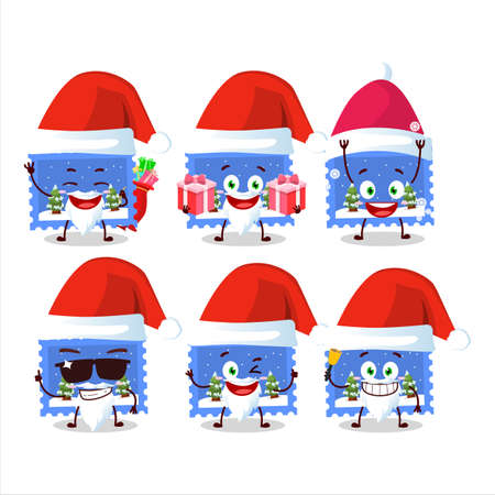 Santa Claus emoticons with landscape christmas ticket cartoon character