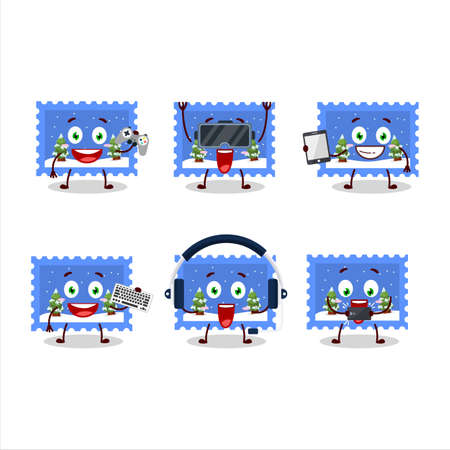 Landscape christmas ticket cartoon character are playing games with various cute emoticons