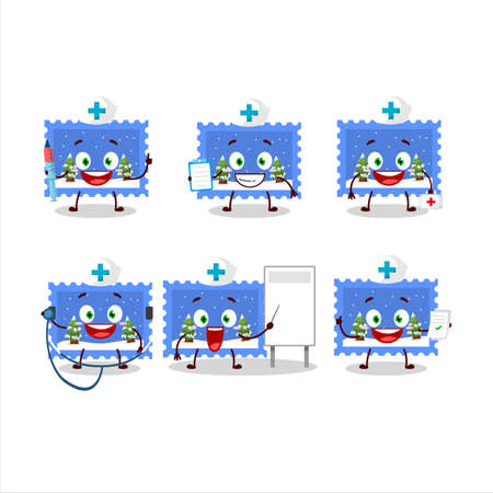 Doctor profession emoticon with landscape christmas ticket cartoon character Ilustração