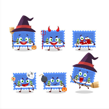 Halloween expression emoticons with cartoon character of landscape christmas ticket