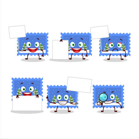 Landscape christmas ticket cartoon character bring information board