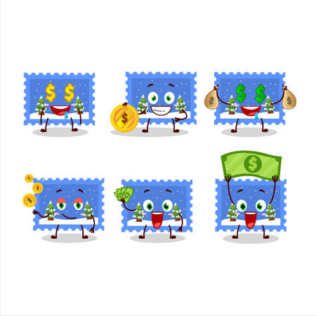 Landscape christmas ticket cartoon character with cute emoticon bring money Ilustração