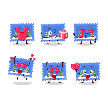 Landscape christmas ticket cartoon character with love cute emoticon