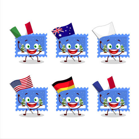 Landscape christmas ticket cartoon character bring the flags of various countries