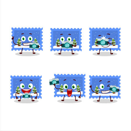 Photographer profession emoticon with landscape christmas ticket cartoon character Ilustração
