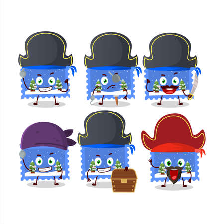 Cartoon character of landscape christmas ticket with various pirates emoticons