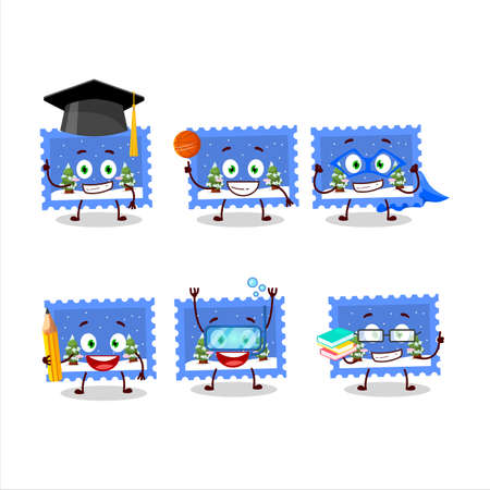 School student of landscape christmas ticket cartoon character with various expressions