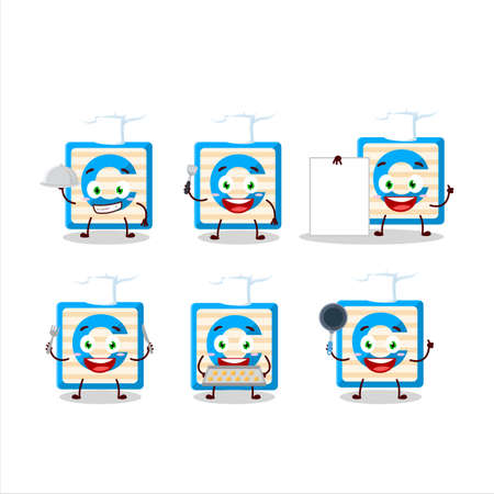 Cartoon character of toy block C with various chef emoticons
