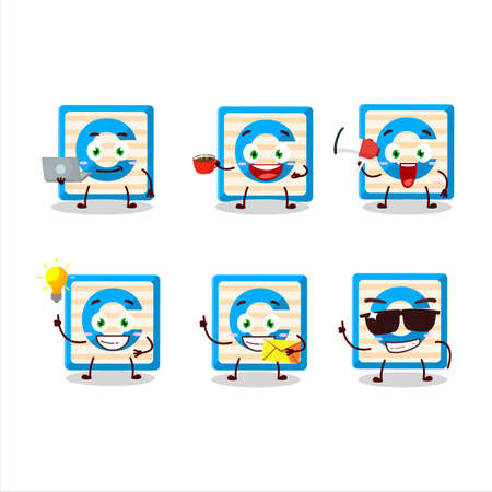 Toy block C cartoon character with various types of business emoticons