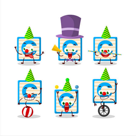 Cartoon character of toy block C with various circus shows Ilustracja