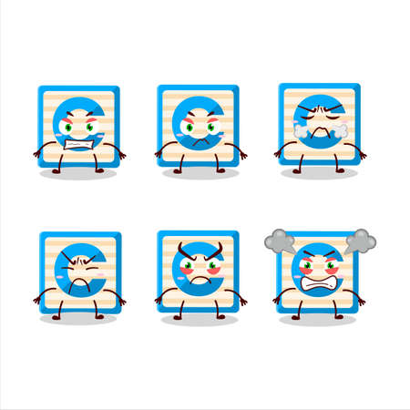 Toy block C cartoon character with various angry expressions