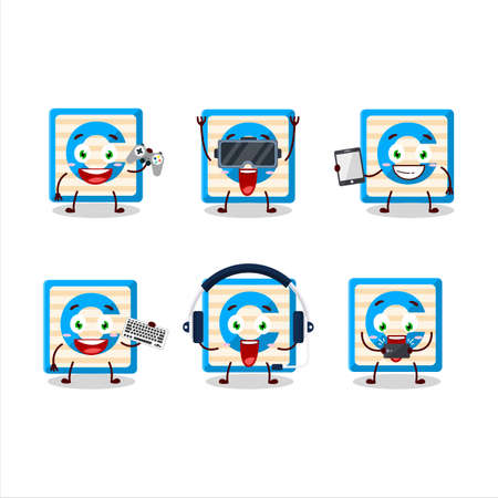 Toy block C cartoon character are playing games with various cute emoticons Ilustracja