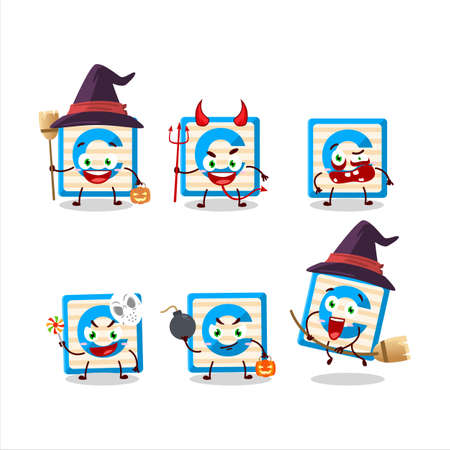 Halloween expression emoticons with cartoon character of toy block C
