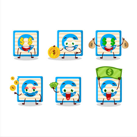 Toy block C cartoon character with cute emoticon bring money
