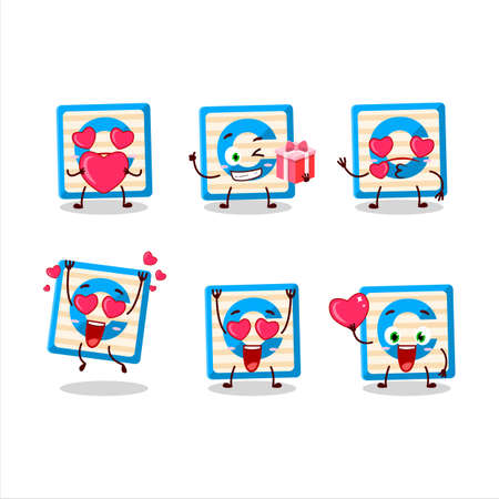 Toy block C cartoon character with love cute emoticon