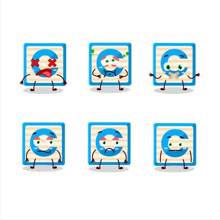 Toy block C cartoon character with nope expression Ilustracja