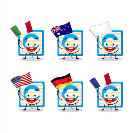 Toy block C cartoon character bring the flags of various countries