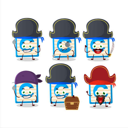 Cartoon character of toy block C with various pirates emoticons