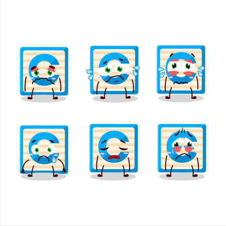 Toy block C cartoon character with sad expression