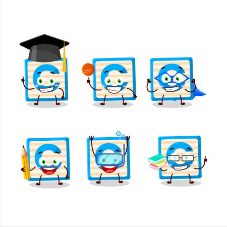 School student of toy block C cartoon character with various expressions
