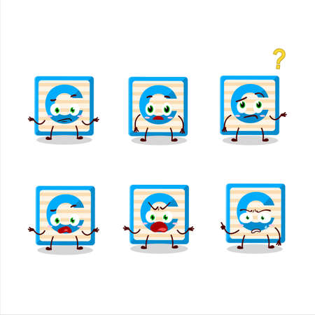 Cartoon character of toy block C with what expression
