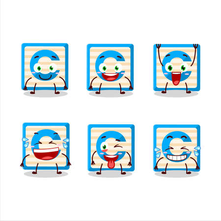 Cartoon character of toy block C with smile expression Ilustracja