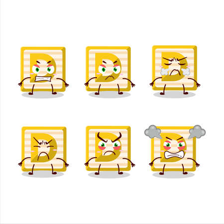 Toy block D cartoon character with various angry expressions