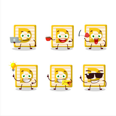 Toy block D cartoon character with various types of business emoticons