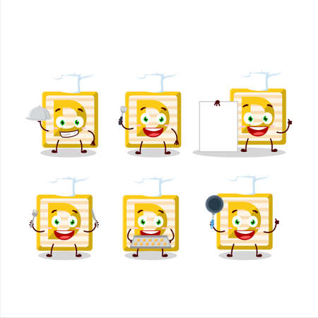 Cartoon character of toy block D with various chef emoticons
