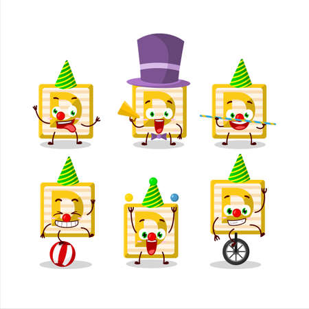 Cartoon character of toy block D with various circus shows Ilustracja