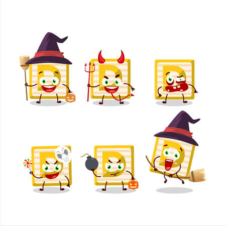 Halloween expression emoticons with cartoon character of toy block D Ilustracja