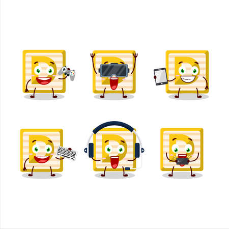 Toy block D cartoon character are playing games with various cute emoticons