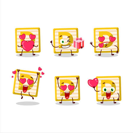 Toy block D cartoon character with love cute emoticon