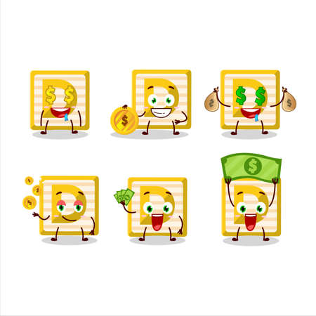 Toy block D cartoon character with cute emoticon bring money