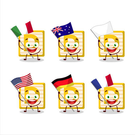 Toy block D cartoon character bring the flags of various countries