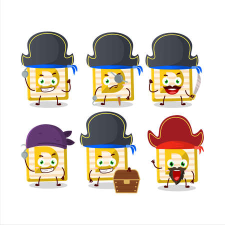 Cartoon character of toy block D with various pirates emoticons