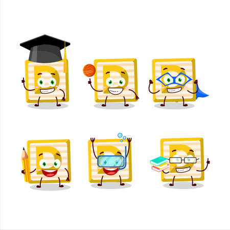 School student of toy block D cartoon character with various expressions
