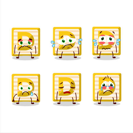 Toy block D cartoon character with sad expression Ilustracja