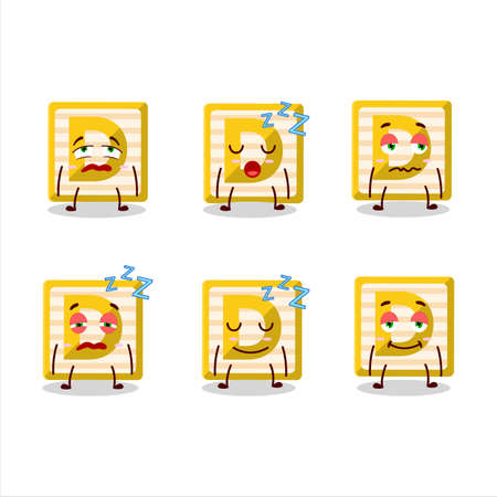 Cartoon character of toy block D with sleepy expression