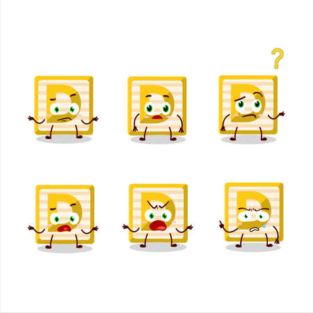 Cartoon character of toy block D with what expression Ilustracja