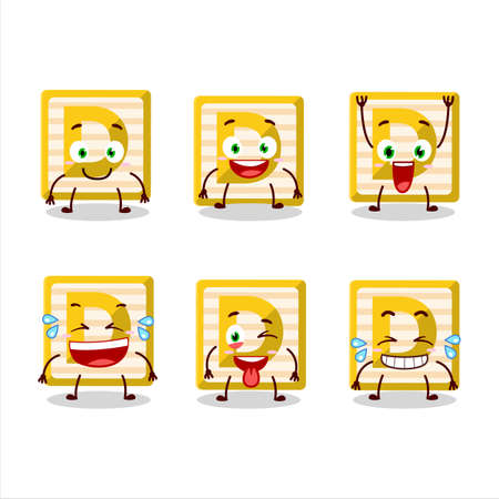 Cartoon character of toy block D with smile expression Ilustracja