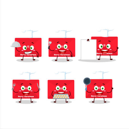 Cartoon character of red christmas envelopes with various chef emoticons
