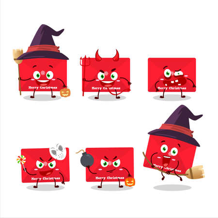 Halloween expression emoticons with cartoon character of red christmas envelopes
